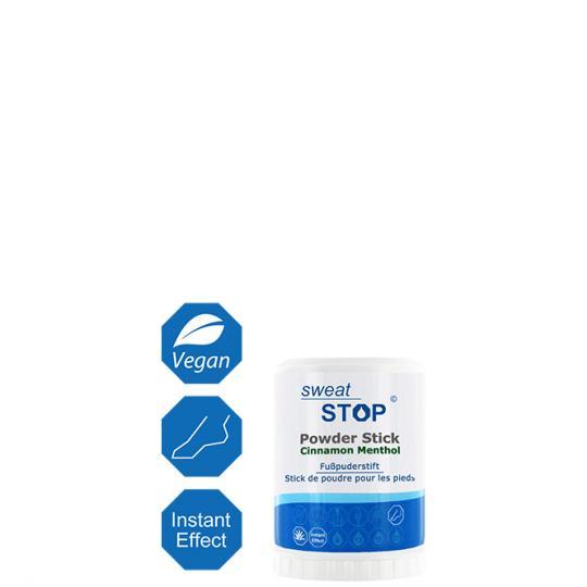 SweatStop® Powder Stick Cinnamon Menthol - Fußpuderstift mit Zimt und Menthol gegen Fußschweiß, für ein angenehmes, trockenes Fußklima.