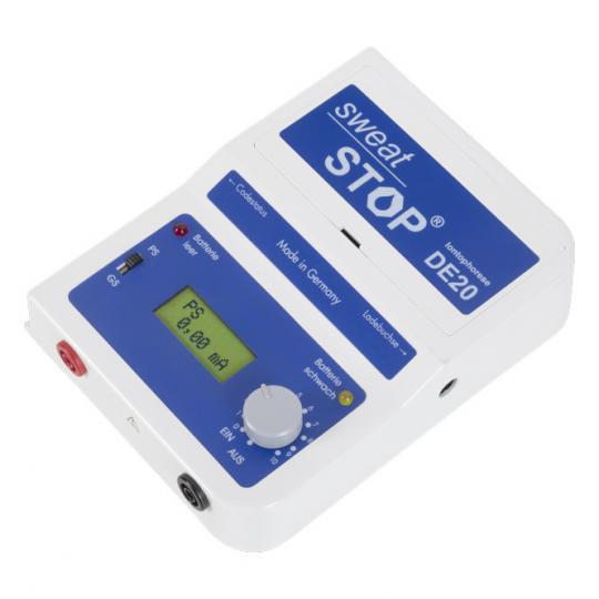 SweatStop® Iontophorese DE20 - Therapie-Gerät zur Behandlung von Hyperhidrose an den Händen, Füßen, Achseln im Gesicht und am Kopf.